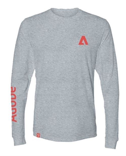 Unisex Sueded Long Sleeve Grey Tee
